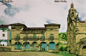 Ayuntamiento y la iglesia de San Severino.  Lámina de Fernando Hierro
