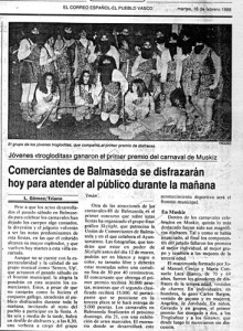 Artículo de El Correo. Martes 18/02/1988